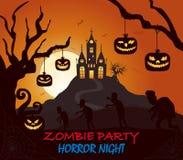 Замок, тыква, силуэт хеллоуина зомби на темноте покрасил плакат бесплатная иллюстрация