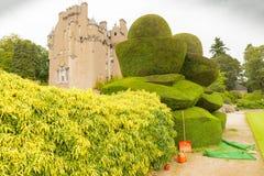 Замок Шотландия Crathes с взглядом садов в лете Стоковое фото RF