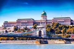 Замок Buda и цепной мост Стоковое Изображение RF