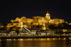 Замок Buda на ноче Стоковое Фото