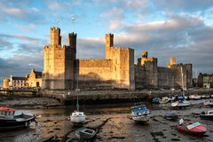 Замок Caernarfon в северном Уэльсе на заходе солнца стоковые фото