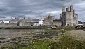 Замок Caernarfon, Уэльс, Великобритания Стоковые Изображения RF