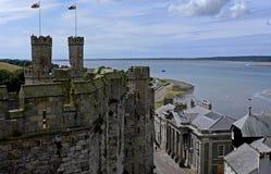 Замок Caernarfon, Уэльс, Великобритания Стоковое Изображение RF