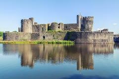 Замок Caerphilly, Уэльс Стоковое Изображение RF