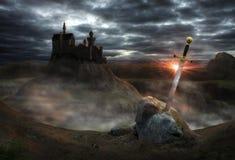 Замок Camelot фантазии Стоковая Фотография