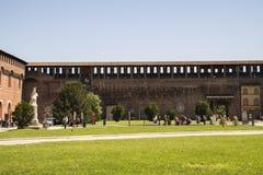 Замок Castello Sforzesco Sforza в милане, Ломбардии, Италии, 13 Стоковое Изображение