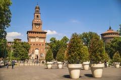 Замок Castello Sforzesco Sforza в милане, Ломбардии, Италии, 13 Стоковые Фотографии RF