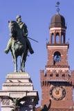 Замок Castello Sforzesco Sforza, замок в милане, Италии Стоковое Изображение RF