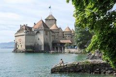 Замок Chillon в Монтрё, Швейцарии Стоковое Изображение RF