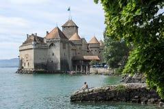 Замок Chillon в Монтрё, Швейцарии Стоковое Фото