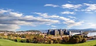 Замок Conwy в Уэльсе, Великобритании, серии Walesh рокирует Стоковая Фотография RF