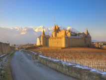 замок d Швейцария aigle Стоковые Изображения RF