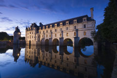 Замок de Chenonceau на сумраке Стоковое Изображение RF