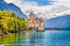 Замок de Chillon на женевском озере, кантоне Во, Швейцарии Стоковые Изображения