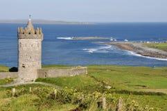 Замок Doonagore, Co Береговая линия Атлантического океана около Ballyvaughan, Co Стоковые Изображения