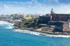 Замок El Morro в Сан Жуан, Пуерто Рико Стоковые Изображения