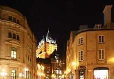 Замок Frontenac на ноче Стоковая Фотография RF