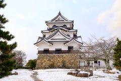 Замок Hikone в зиме Стоковое Изображение RF