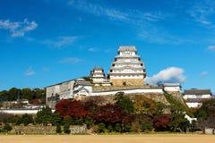 Замок Himeji с цветами листвы осени Стоковое Изображение RF