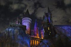 Замок Hogwarts на ноче Стоковое Изображение