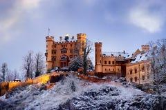 Замок Hohenschwangau, дворец возрождения романск, Fussen, Бавария, Германия стоковые фотографии rf