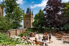 Замок Hohenzollern, Германия - 24-ое июня 2017: Hohenzollern Castl Стоковая Фотография RF