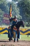 замок horseback knight средневековое warwick Стоковое Изображение