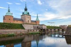 Замок Kalmar в вечере Стоковые Изображения RF