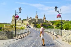 Замок Kamianets-Podilskyi, Украина стоковые изображения