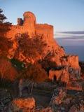 Замок Kantara в Кипре в romanric восходе солнца стоковая фотография