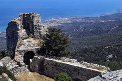 Замок Kantara - турецкая республика северного Кипра Стоковые Фото