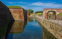 Замок Kronborg рова стоковое фото rf
