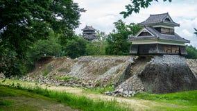 Замок Kumamoto показывая повреждение после землетрясения поразил 16-ого апреля 2016 Стоковое Фото