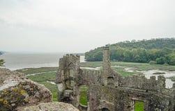 Замок Laugharne и лиман Taf Стоковые Изображения RF