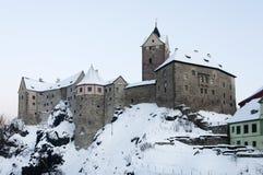 Замок Loket в зиме Стоковые Изображения