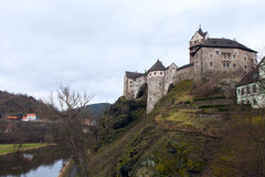 Замок Loket и чехия городища Стоковые Фотографии RF