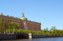 Замок Mikhailovsky был построен в XVIII веке, Санкт-Петербурге, России Стоковая Фотография RF