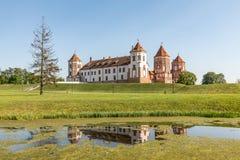 Замок Mir в Беларуси на дневном времени Стоковое Изображение RF