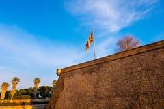 Замок Montjuic в Барселоне, Каталонии, Испании стоковое изображение rf