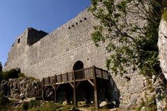 Замок Montsegur, страна Альбигойца, Ariege, Стоковое Фото
