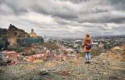 Замок Narikala в Тбилиси стоковые фотографии rf