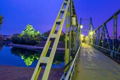 Замок Okayama в сезоне осени в городе Okayama, Японии стоковое изображение