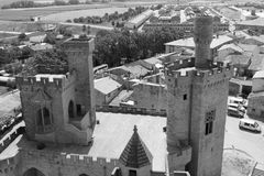 Замок Olite в черно-белом Стоковые Фото