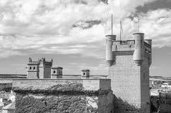Замок Olite   в Navarra, съемка Испании черно-белая Стоковое Изображение
