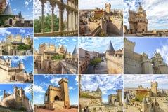 Замок Olite коллажа, Испания Стоковое Изображение