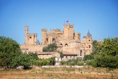 Замок Olite средневековый в Наварре Стоковое Фото