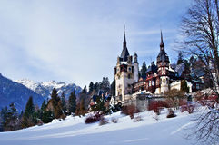 Замок Peles в зиме Стоковое фото RF