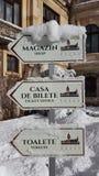 Замок Peles - зима - знаки Стоковые Изображения RF