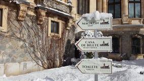 Замок Peles - зима - знаки Стоковая Фотография