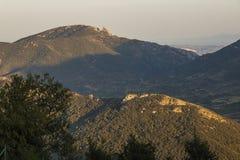 Замок Qeribus, горы Corbieres, Франция стоковые изображения rf